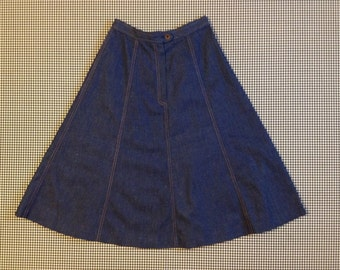 1980's, dark denim, A-line, skirt, by Koret City Blues, Women's size 8
