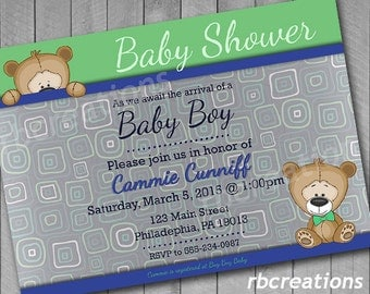 Bear Baby Shower Invitation, Baby Shower Invites, Baby Shower Invitation Boy, Baby Shower Decorations, Bear Invitation - Digital Printable