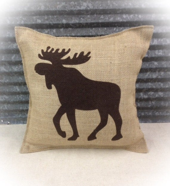 Decorative Pillow with a Moose silhouette. COMPLETE pillow.