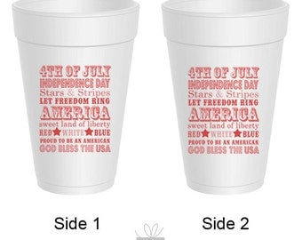 4th of July Independence Day Styrofoam Cups, 10 count