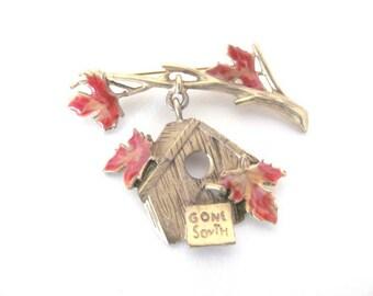 Vintage Birdhouse Brooch, 1970's Danecraft Fall Birdhouse Brooch, Pin, Fall Leaves, 1970's Brooch, Jewelry