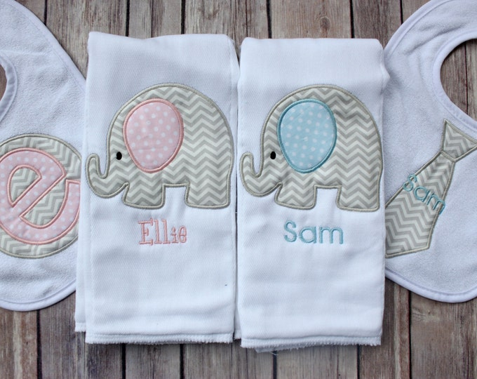 Personalized Twin Baby Gift - Monogrammed Twin Burp Cloth, Custom Twin Baby Gift, Twin Gift Set, Personalized Burp Cloth Bib Set, Elephant