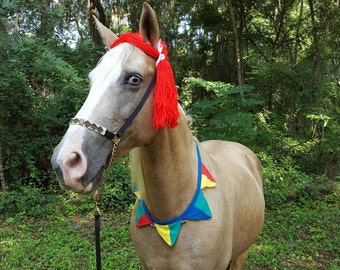 Red Yarn Wig for Horse, Pony or Miniature Horse -- Clown, Jester, Doll Equine Costume, Equine Costume