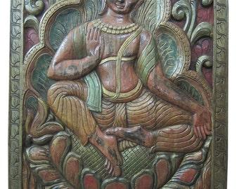 Hand Carved Wood Wall Art Yoga Interior Decor Buddha Vitarka Teaching Decor  Your Home