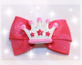 "2"" Pink Princess Dog Bow"