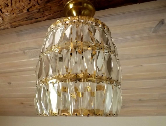 Lucite Light Fixture French Ceiling Light 1980s Beehive Prism