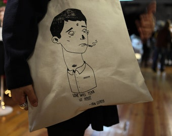 Tote Bag - Screenprint Over Cotton Canvas Tote Ian Curtis - Joy Division