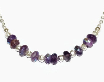 Rainbow Colour Coated Amethyst Necklace - Amethyst Necklace - February's Birthstone