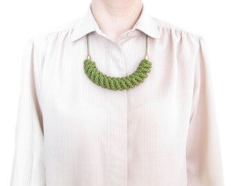 Green Rope necklace Nautical rope knot necklace