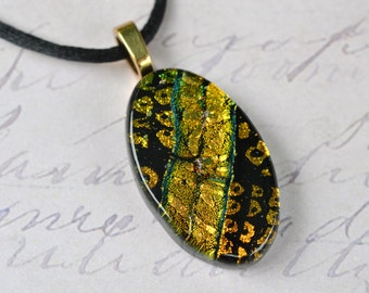 Fused Glass Jewelry - Gold Necklace - FUSED GLASS PENDANT - Dichroic Glass jewelry - Fused Glass Necklace
