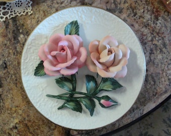 REDUCED....Roses of Capodimonte Plate by Franklin Mint LE w/ COA