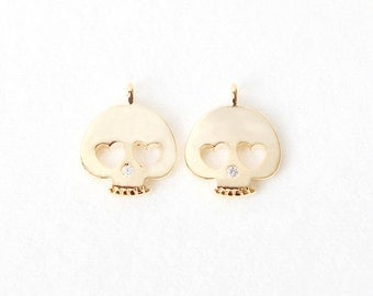 3036061 / Heart Eyed Skull / 16k Gold Plated Brass with Cubic Pendant 11.8mm x 14.4mm / 1g / 2pcs