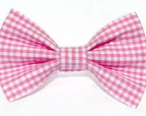 Pink and white gingham - cat and dog bow tie