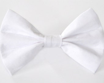 Plain white cat bow tie & dog bow tie, solid white