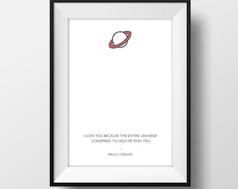 Love - Universe Quote Poster A4  - Quality Art Print