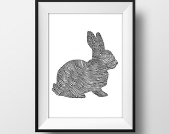 Rabbit Line and Circle Illustration Print - Ink- Drawing - Art
