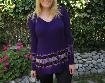 Tunics, Tie Dye Tops, Womens Tunic, Tunic top, Tie Dye, Womens Clothing, Bright Purple, L XL, V Neck, Long Sleeve