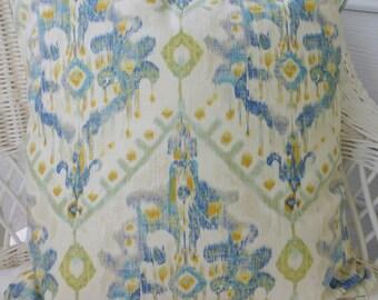 Ikat Accent Pillow Cover - Designer Fabric throw pillow - Swavelle Mill Creek Izza Ikat -  linen Rayon blend - Ikat pillow cover - pillows