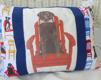 Accent Pillow Cover - Decorative Pillow Cover - Labrador Retriever - Black Lab - animal pillow - 12x16 - Dog Pillow Cover- Fathers Day Gift