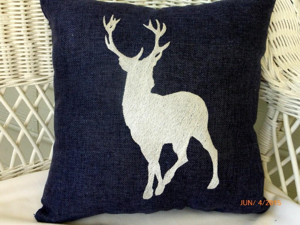Embroidered deer pillow burlap pillows animal