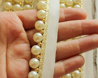 Off White Pearl With Cotton Trim And Gold Piping One Yard 25mm wide - 030315L76