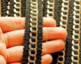 Black Trim With Silver Chain Pattern, Silver Circle Beads, Approx. 22mm wide - 030315L84