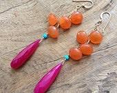 Carnelian Earrings / Hot Pink Chalcedony Earrings / Sleeping Beauty Turquoise / Gemstone Earrings