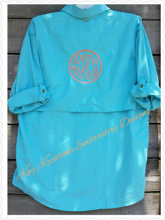 Monogrammed fishing shirt swim suit cover up by for Monogram fishing shirt