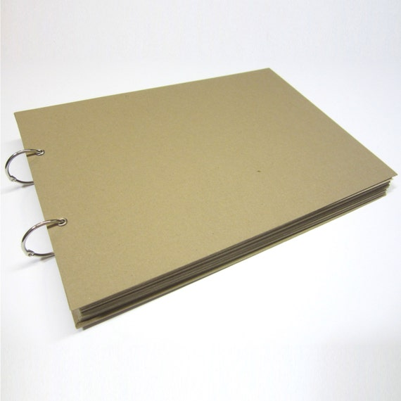 100 Pages, A4/A5 XL Scrapbook, White/Kraft/Black Card, Binding Ring, Photo Album