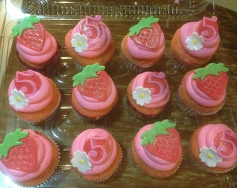 Strawberry shortcake cupcake toppers