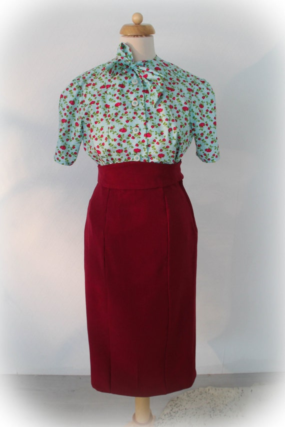 1940s Style Skirts- High Waist Vintage Skirts 1930s 1940s pencil skirt made to measure secretary style WWII 50s style $158.68 AT vintagedancer.com