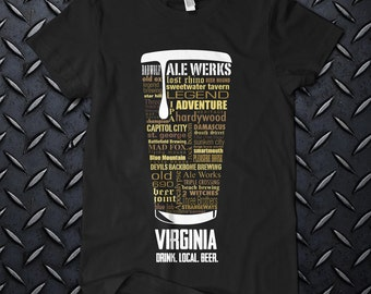 """VIRGINIA CRAFT BEER Typography"""" t shirt. One of a kind"""