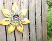 Gypsy Decor, Metal Wall Art, Wood Wall Art, Bohemian Decor, Outdoor Wall Art, Rustic Decor, Wooden Flower Yard Art, Junk Gypsy Decor,