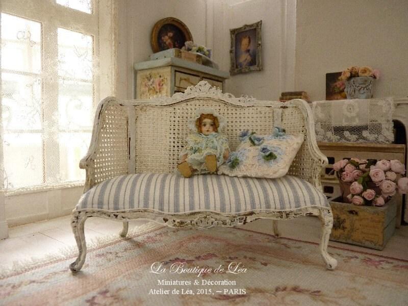 Shabby French Sofa Striped Gray Blue Toile Imitation