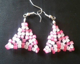 Beaded pink and white earrings