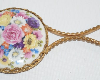 Little Hand Mirror Gold Tone Filigree Flowers Rose Daisy 4.75""