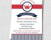 Preppy Crab Birthday Invitation - Crab Themed Birthday Party - Digital Design or Printed Invitations - FREE SHIPPING