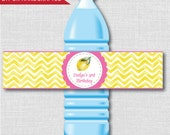 Lemon Themed Water Bottle Labels - Lemon Themed Birthday - Weatherproof Labels - Digital or Handcrafted - FREE SHIPPING
