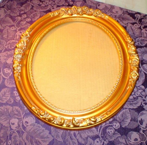 Large Ornate Oval Gold Picture Mirror Frame By Longagovintage