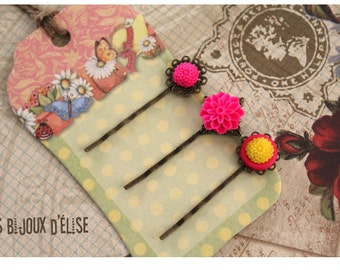 3 pcs Antique Bronze Hair Pins with Neon Pink Flower Cabochon - Gift (HP8)