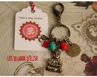 Buddha Live Laugh Love Keychain Buddha Keychain Red and Turquoise Antique Gold and Antique Bronze Bag dangle Purse Jewelry