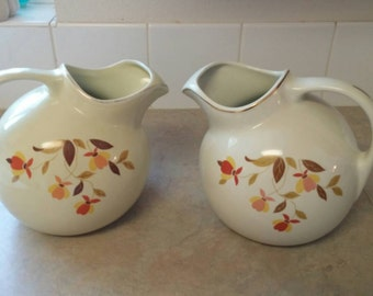 On Sale One of 2 Hall China Jewel Tea Mary Dunbar Autumn Leaf Ball Pitcher Superior China Water Serving Dish