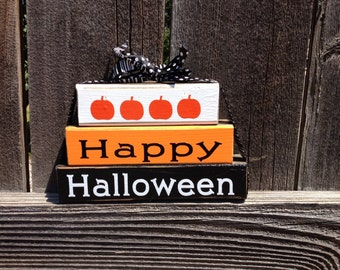 Happy Halloween wood blocks-pumpkins