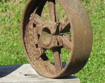 Rusty Salvaged Factory Pulley Repurposable Decor