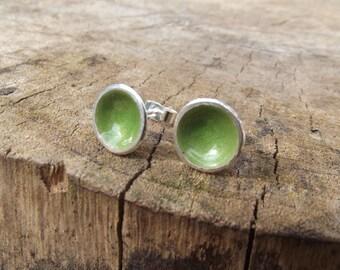 Silver and enamel green earrings, silver studs, handmade jewelry, Sea, rockpool Earrings, Light green, Everyday earrings, Them Silver Seas