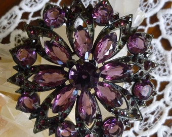 Large Vintage Amethyst Colored Glass Crystal Brooch - c1940s-Unsigned