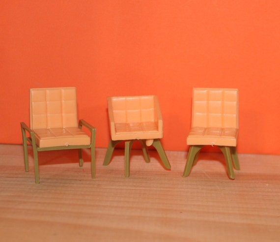 Marx Imagination Plastic Dollhouse Furniture Set Of 3 Chairs