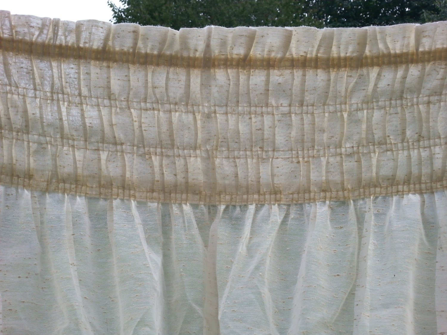 Pair Textured Antique White Curtain Panels Shabby Knobby