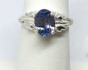 1.20ct Oval Tanzanite Sterling Silver Ring Size 6