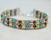 Loomed Beaded Bracelet . Earthy . Czech Glass . Artisan Bracelet . Multi Colors . Sterling Charm
